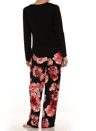 Doremi Doremi Fermuar Detaylı Desenli Bol Altlıklı Kadın Pijama Takımı Siyah